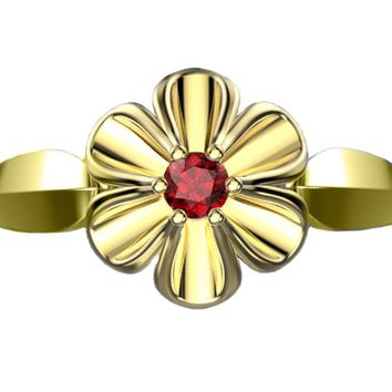 18K Yellow gold Flower Ring with Ruby Solitaire Flower Ring Leaves Ring Promise Ring Unique Engagement Ring