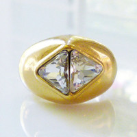 Christian Dior Ring Gold Plated Crystal CZ Modernist Geometric Statement Vintage Jewelry