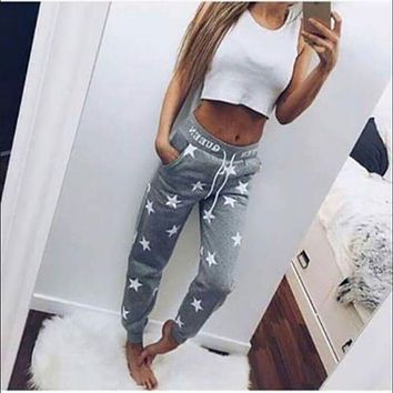 Star Pattern Women Sweatpants Track Gray Pink Pants