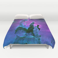 Blue & Purple Gaseous Nebula Galaxy Print Duvet Cover by 2sweet4words Designs
