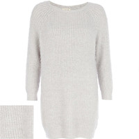 River Island Womens Grey fluffy sweater dress