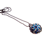 Chainmail Pendant Necklace Blue White Pinwheel by SerenityInChains