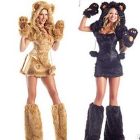 free shipping Halloween costume Sexy Lion Plush Animal pack game uniform temptation suit Halloween Cosplay costumes