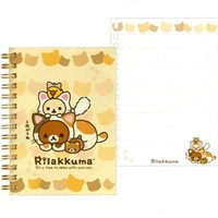 San-X Rilakku Cat A6 Lined Spiral Notebook with Hard Cover: Beige