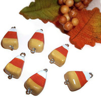 Candy Corn Charms, Halloween Charms, Polymer Clay Charms, Halloween Candy charms, Halloween candy, polymer charms, supplies, 6 pieces