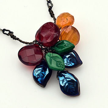 Fall beaded Necklace, Gemstone Necklace, Nature Jewelry
