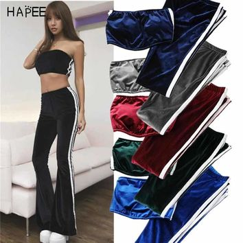 Velvet Two Piece Set Elastic Yoga Suit Sports Clothing Sexy Workout Strapless Crop Top + Fitness Flare Pants Leggings Tracksuit