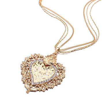 Diamond heart-shaped necklace