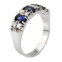 Sapphire Diamond Wedding band Ring Mid Century Ring Wedding Gift 14K White gold