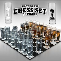 32-piece Chess Shot Glass Set - 2 Ounce