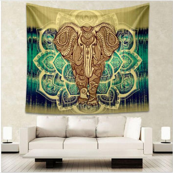 Elephant and Floral Tapestry