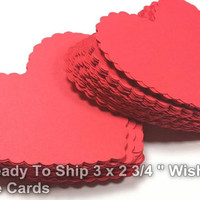 100  Red Bride And Groom Advice Cards, Large Scallop Hearts, DIY Weddings, Valentine Wedding, Wish tags(3x2.75)