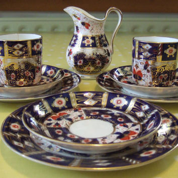 Antique Pointons Imari coffee set, cup, saucer, jug, plate, 9 pieces, pattern T 2614, gold, cobalt blue and brick red, 1891-1916, #135.