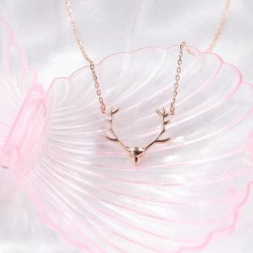 925 Sterling Silver Necklace Christmas Elk Antler Deer Head Necklace