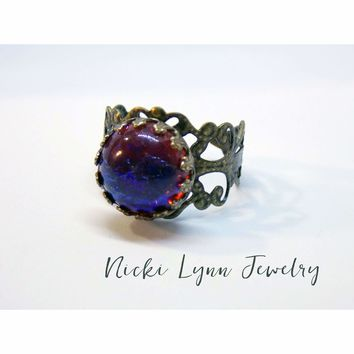 Victorian Dragon Breath Glass Fire Opal Adjustable Ring