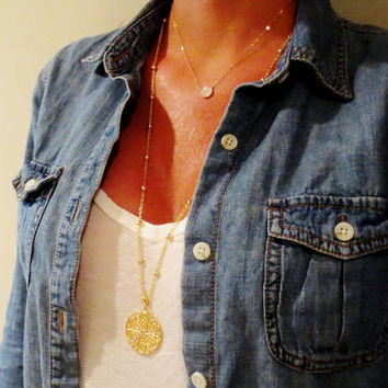 Long Gold Round Filigree Necklace, Large Pendant Layering Necklace, Beaded Chain Layering Jewelry, Gold Statement Necklace