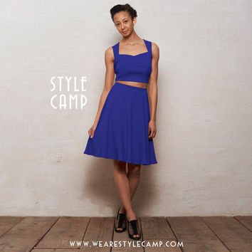 PREMIUM Grace Two-Piece Crop Top & Skater Skirt Co-Ord Set in Royal Blue Ponte