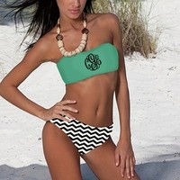 Monogrammed Navy Bathing Suit Bandeau Tube Top