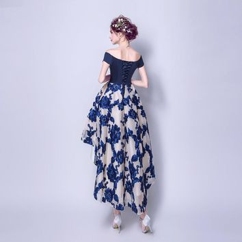 Navy Blue Prom Dresses Short Sleeves Short Front Long Back Evening Gowns Party Dresses