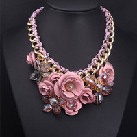 Gold Chain Crystal PINK Flower Bib Chunky Bubble Statement Necklaces Collar