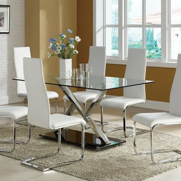 7 pc Nameth Modern collection chrome metal and rectangular glass top pedestal base dining table set with padded chairs
