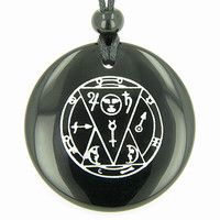 Sun Talisman from the Sage of the Pyramids Black Agate Magic Pendant Necklace