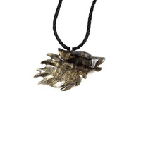 Wolf Necklace, Wolf Pendant, Wolf Jewelry, Mens Wolf Necklace, Wooden Wolf Pendant, Mens Wolf Pendant, Mens Tribal Necklace, Tribal Jewelry