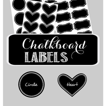 24 Chalkboard Labels for Mason Jars - Vinyl Chalkboard Labels - Small Chalkboard Labels - Mini Chalkboard Labels - Blackboard Stickers