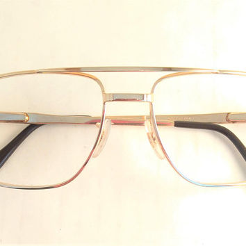 Mens Eyeglasses, Mens Gold Glasses, Gold Metal Aviator Eyewear, Vintage 1980s Square Mens Frames, Double Bridge Glasses