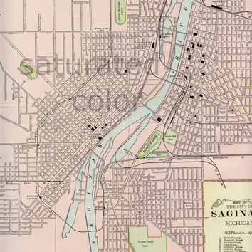 Saginaw Michigan ORIGINAL 1888 Antique City Street Map - City of Saginaw MI Vintage Map -