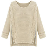 ROMWE | ROMWE Asymmetric Split Zippered Long Sleeves Apricot Jumper, The Latest Street Fashion