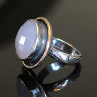 chalcedony ring - lavender chalcedony ring - mixed metal chalcedony ring - silver gold chalcedony ring - rose cut checkerboard chalcedony