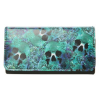 Skull & Rose Watercolor Wallet
