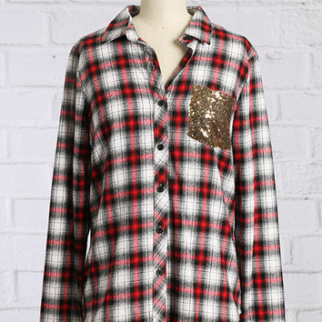 PRE ORDER - SEQUIN DETAIL BUTTON UP FLANNEL - Ships around 8/10/15