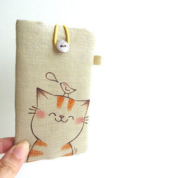 Cat Cell Phone Case Smiling Kitty by dancingintherains on Etsy