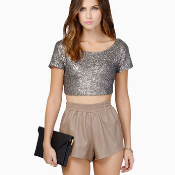 Silver Sequined Short Sleeve Scoop Neckline Crop Top