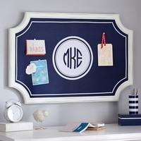 Scallop Framed Monogram Pinboard, Navy