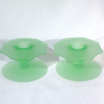 Frosted Mint Green Candlestick Holders