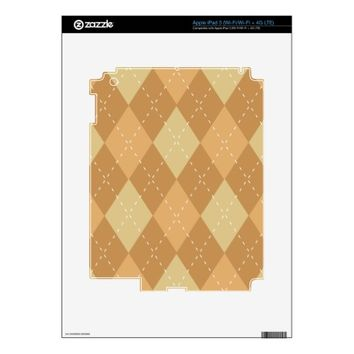 Brown Argyle Like Pattern Skin For iPad 3