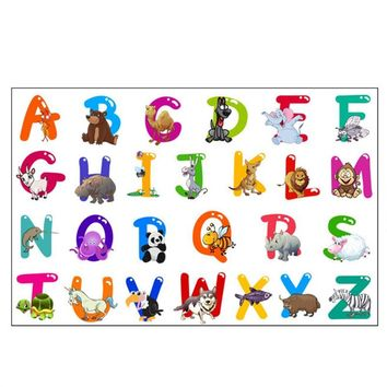 Removable Wall Decal Animals Letters Sticker DIY Educational Decoration for Home