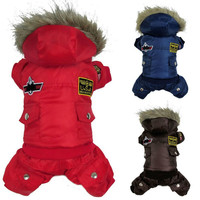 Winter Warm Small Dog Pet Clothes Padded Hoodie Jumpsuit Pants Apparel 1 Pieces DY164