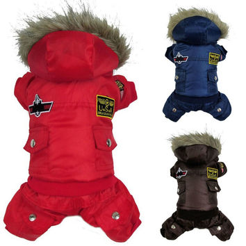 Winter Warm Small Dog Padded Hoodie Jumpsuit