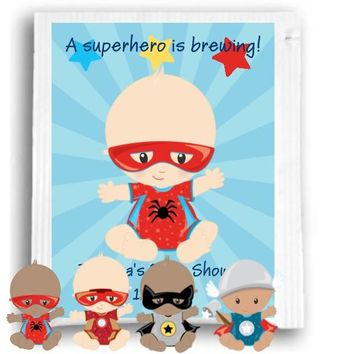 10 Superhero Theme Baby Shower and Birthday Party Tea Favors