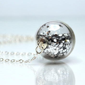 Silver glitter necklace round blown glass sterling by thestudio8