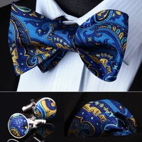 Blue Yellow Paisley Silk Self Bow Tie Cufflinks  Pocket Square Classic Party Wedding