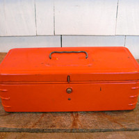 Vintage Tool Box - Bright Red - Metal Toolbox - 1950s - Mid Century - Vintage Storage - Man Cave - Repurpose - Reclaimed, Industrial Storage