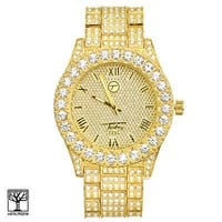 Jewelry Kay style Techno Pave Men's Gold Plated Icy CZ Metal Band Watches WM 8719 G