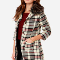 Plaid About Town Plaid Cream Coat