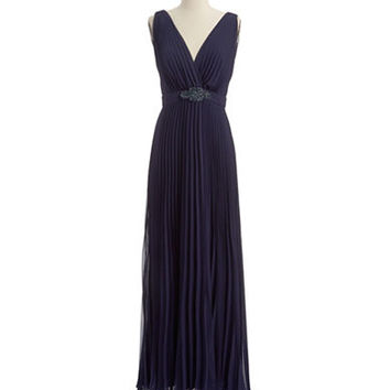 Xscape Rhinestone and Pleated Gown