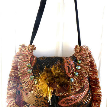 romantic fabric bag, hobo bag, boho bag, gypsy bag, bohemian bag, evening bag, purse, fall wedding, fall fashion, Victorian,  Renaissance